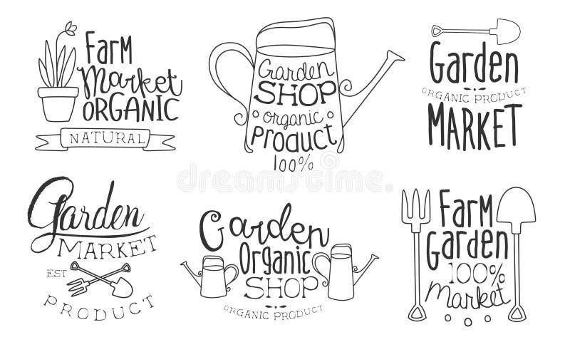 Garden Shop Organic Product Hand Drawn Badges Set, Farm Organic Market Monochrome Vector Illustration royalty free illustration