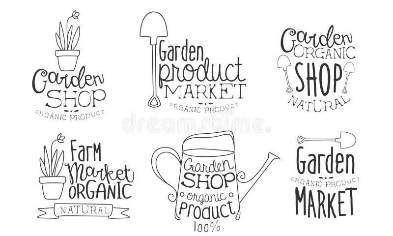 Garden Shop Organic Product Hand Drawn Badges Set, Natural Farm Organic Market Monochrome Vector Illustration vector illustration