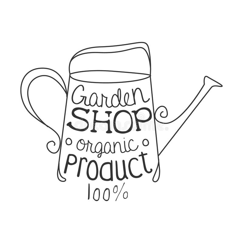 Garden Shop 100 Percent Organic Product Black And White Promo Sign Design Template With Calligraphic Text stock illustration