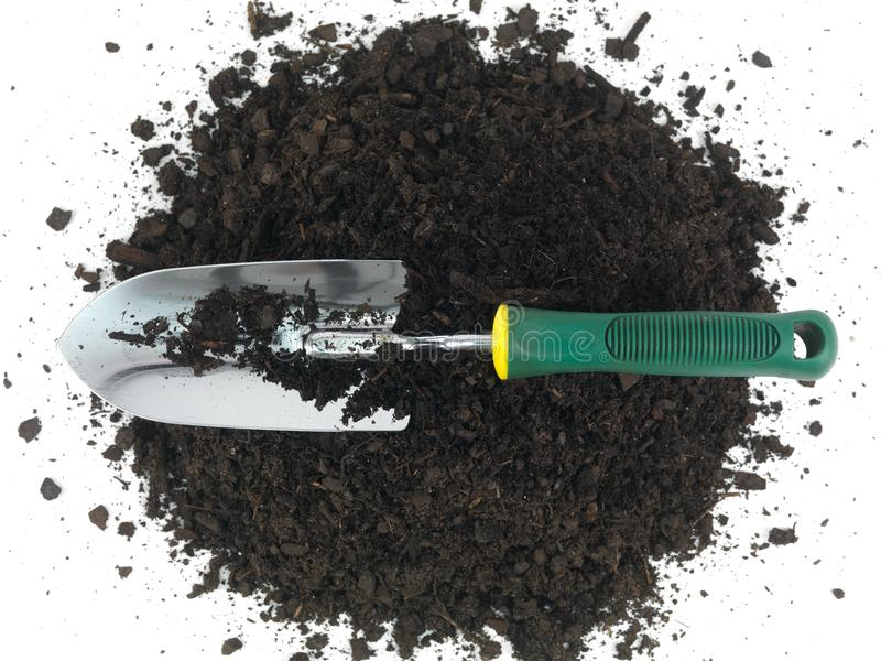 Garden Soil. And implements isolated against a white background royalty free stock photography