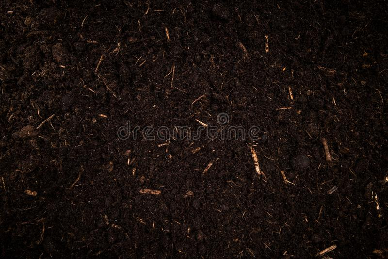 Garden Soil , Dark Cultivated Turf Soil , Gardening and Farming Concept, Background stock images
