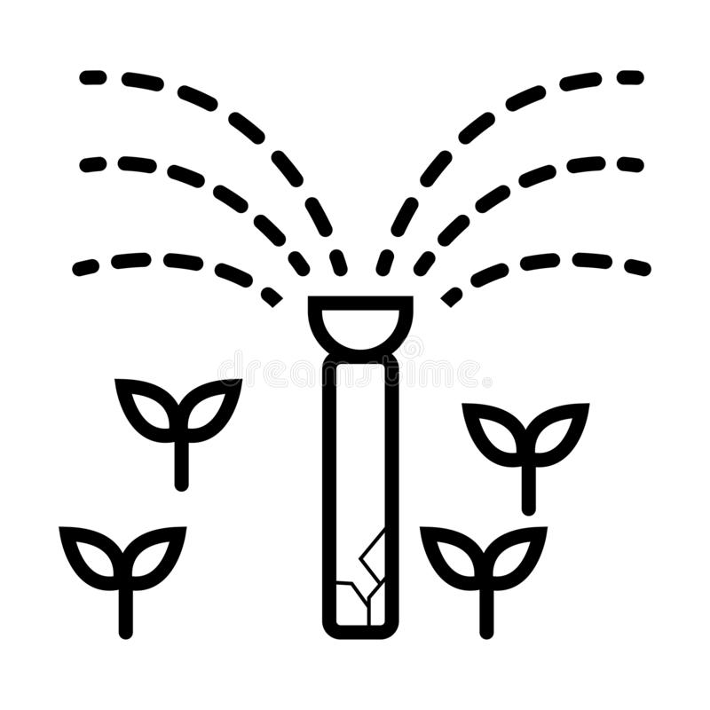 Garden sprinkler. Automatic lawn watering system vector. Garden sprinkler icon. Automatic lawn watering system vector stock illustration