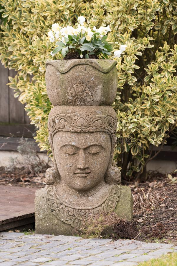 Garden Statue, Balinese Divinity with Christmas Rose Plants on Head in Winter stock photo