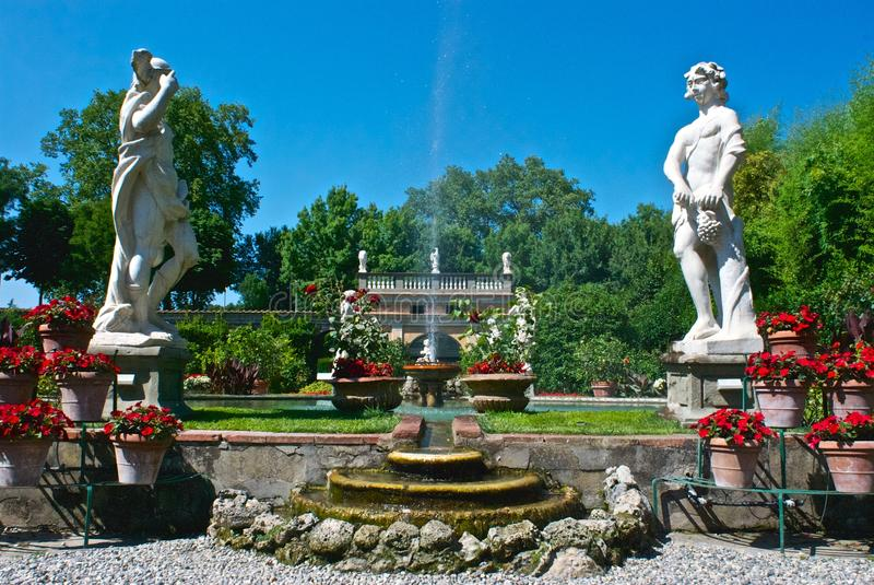 Garden with status in Lucca royalty free stock photo