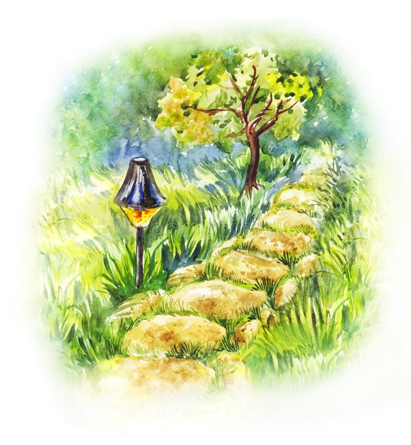 Garden stone path with lantern. Summer watercolor illustration. Of evening landscape royalty free illustration