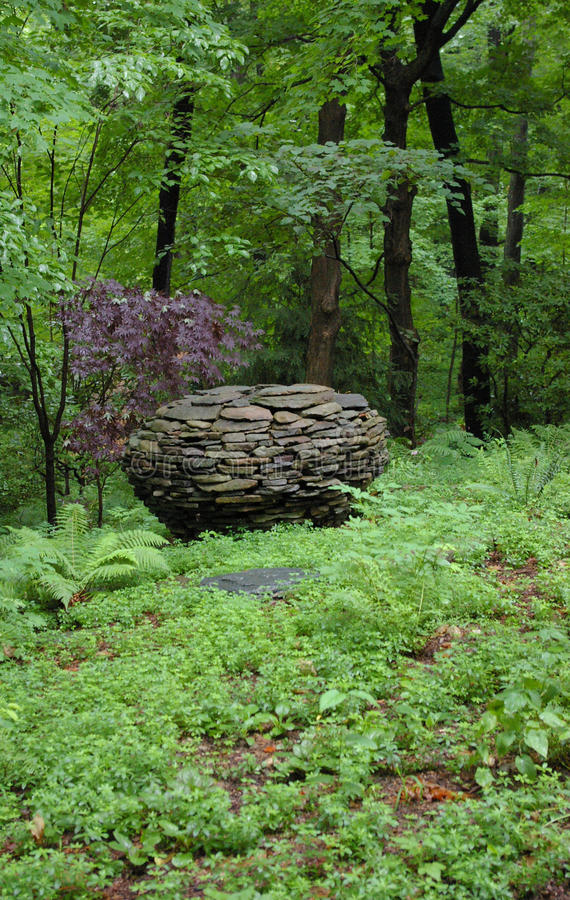 Garden Stone Sphere Stock Photo