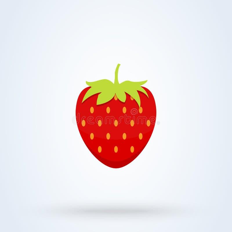 Garden strawberry fruit flat style. Vector illustration icon isolated on white background vector illustration