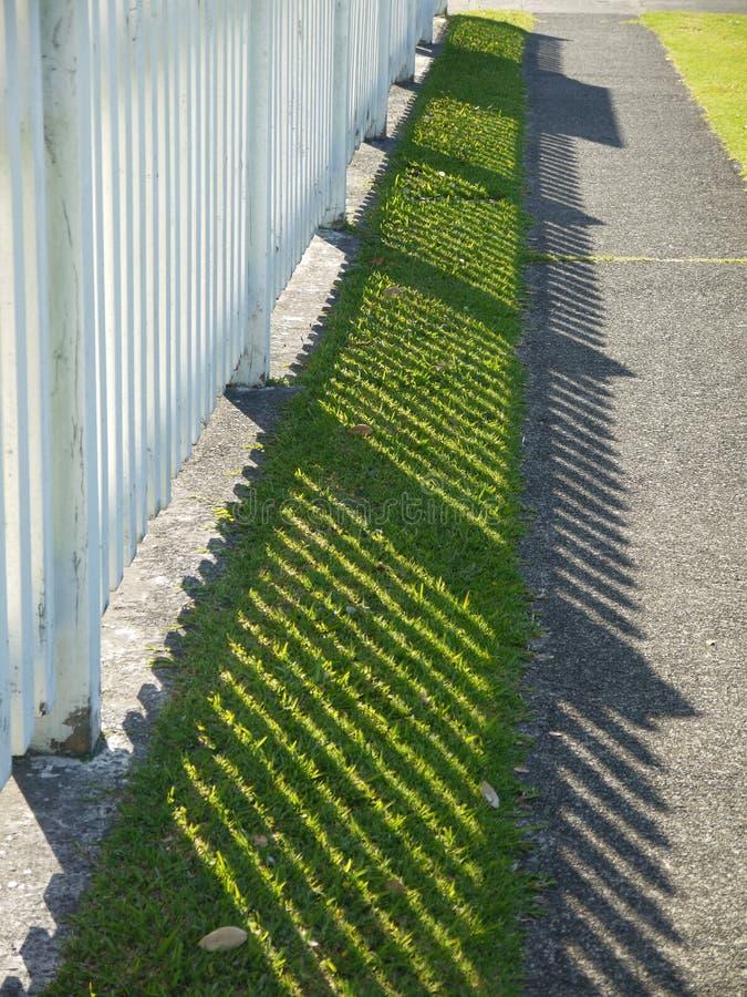 Garden: suburban white picket fence lawn stock image