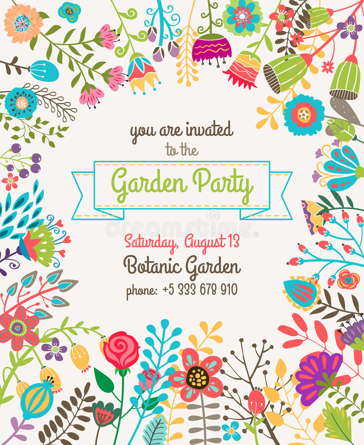 Garden Or Summer Party Invitation Template Poster Stock Vector ...