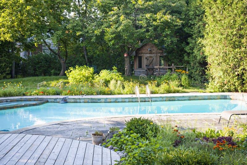 Garden And Swimming Pool In Backyard Stock Photo - Image: 47414061