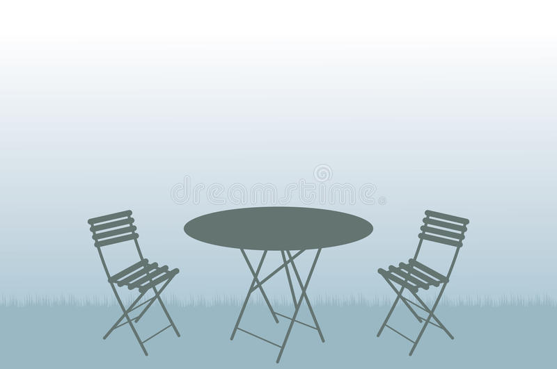 Garden table and chairs illustration royalty free illustration