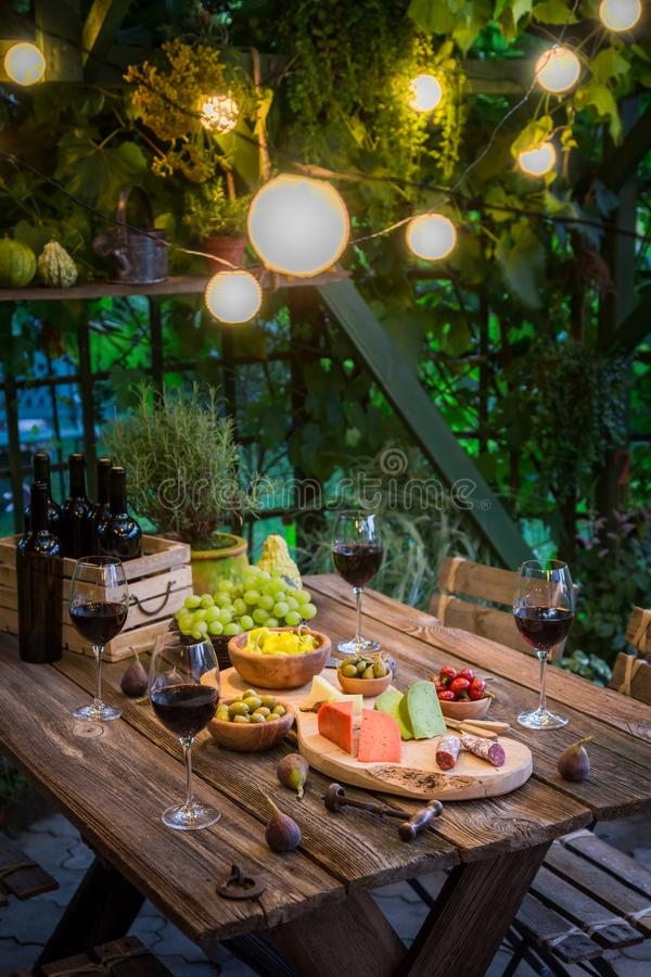 Garden table with cheese, red wine in the garden. Session in outside stock images