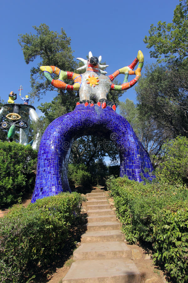 The garden tarot. A sculpture, a typical avenue in Tarot Garden, a Park located in Garavicchio, near Pescia Fiorentina, village and town of Capalbio in Tuscany royalty free stock photos