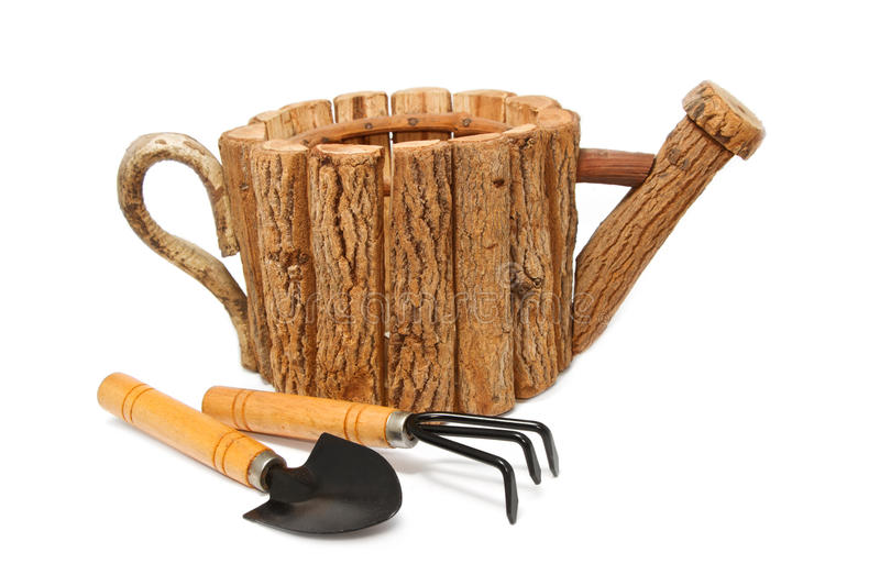 Garden tool and wood fiower pot stock images