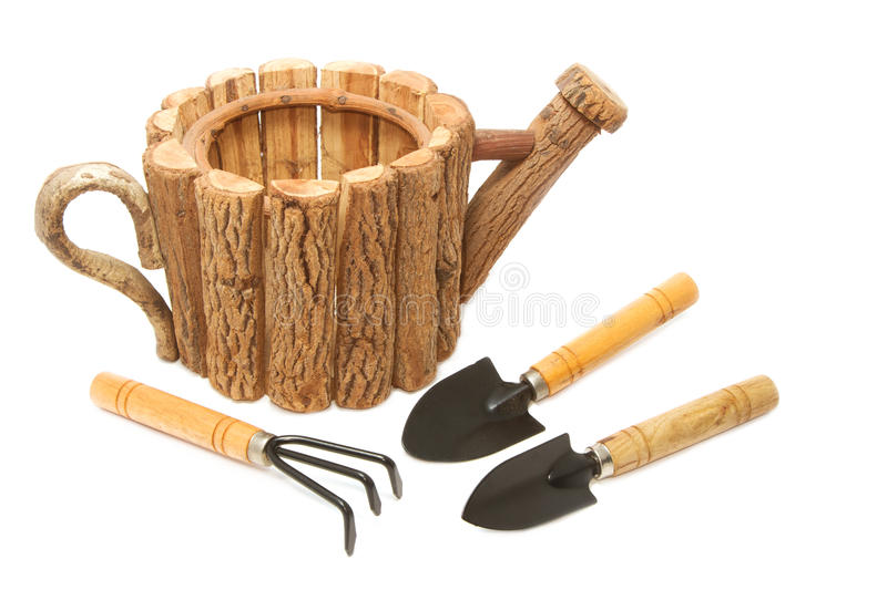 Garden tool and wood fiower pot royalty free stock image