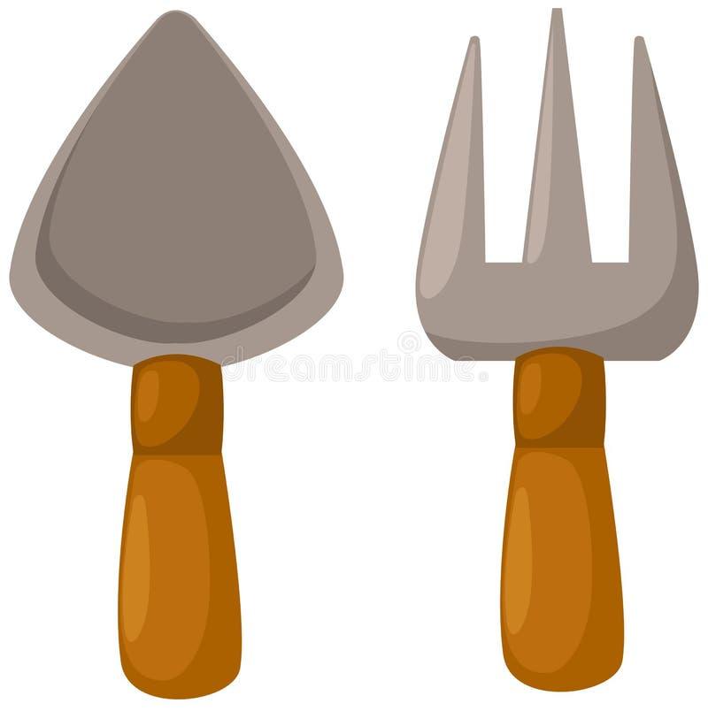 Garden tools. Illustration of isolated garden tools on white background stock illustration