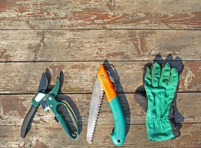 Garden tools. Various garden tools on a old wooden background royalty free stock photos
