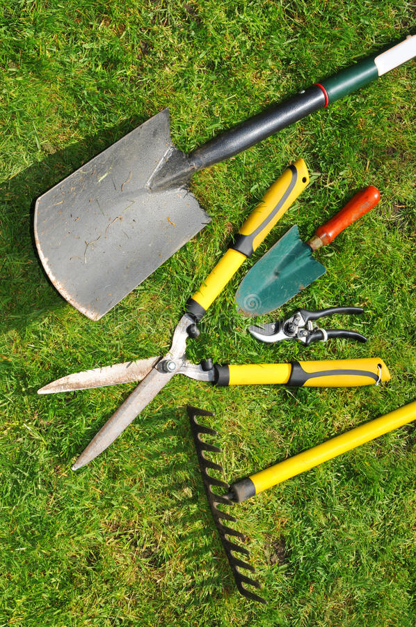 Garden tools. Variety of garden tools against green grass background stock photography