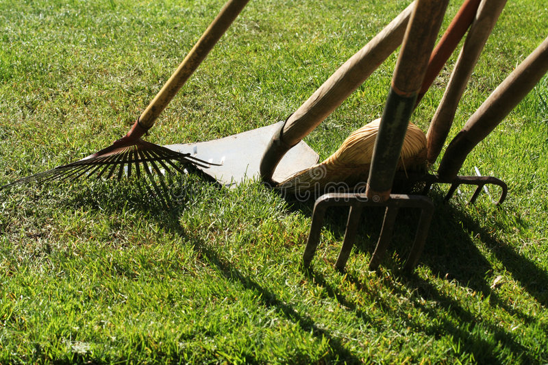 Garden tools. And lawn royalty free stock photos