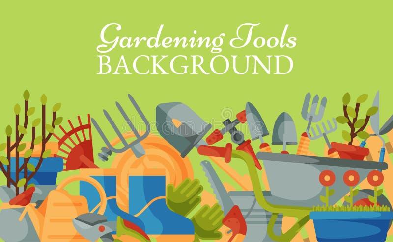 Garden tools background banner vector illustration. Equipment for gardening. Wheelbarrow, trowel, fork hoe, boots. Gloves, shovels and spades, lawn mower vector illustration