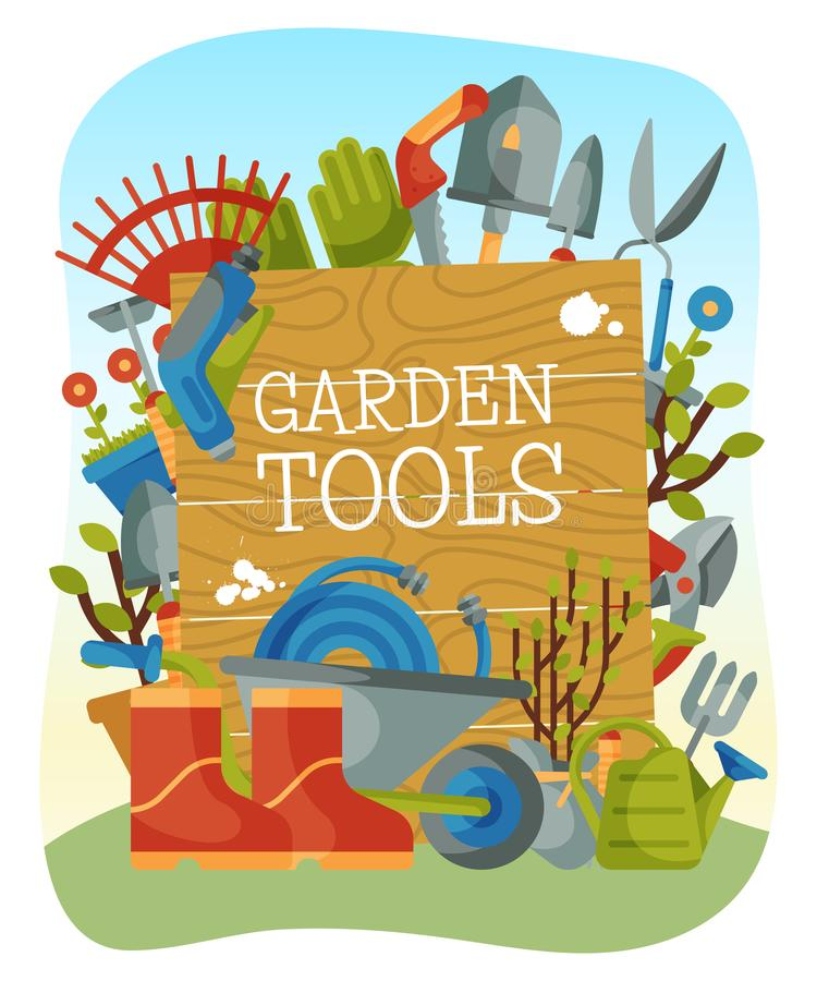Garden tools banner, poster vector illustration. Supplies for gardening such as wheelbarrow, trowel, fork hoe, boots. Gloves shovels and spades lawn mower royalty free illustration