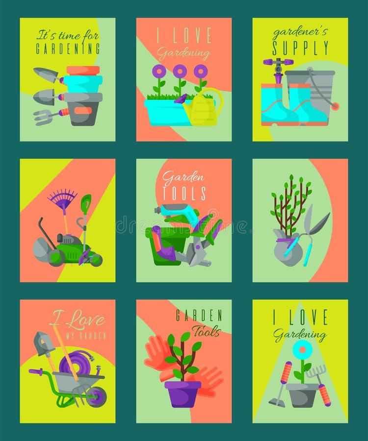 Garden tools card set vector illustration. It s time for gardening. Gardener supply. I love my garden. Wheelbarrow. Trowel, fork hoe boots gloves shovels and stock illustration