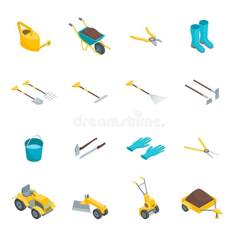 Garden Tools 3d Icons Set Isometric View. Vector stock illustration