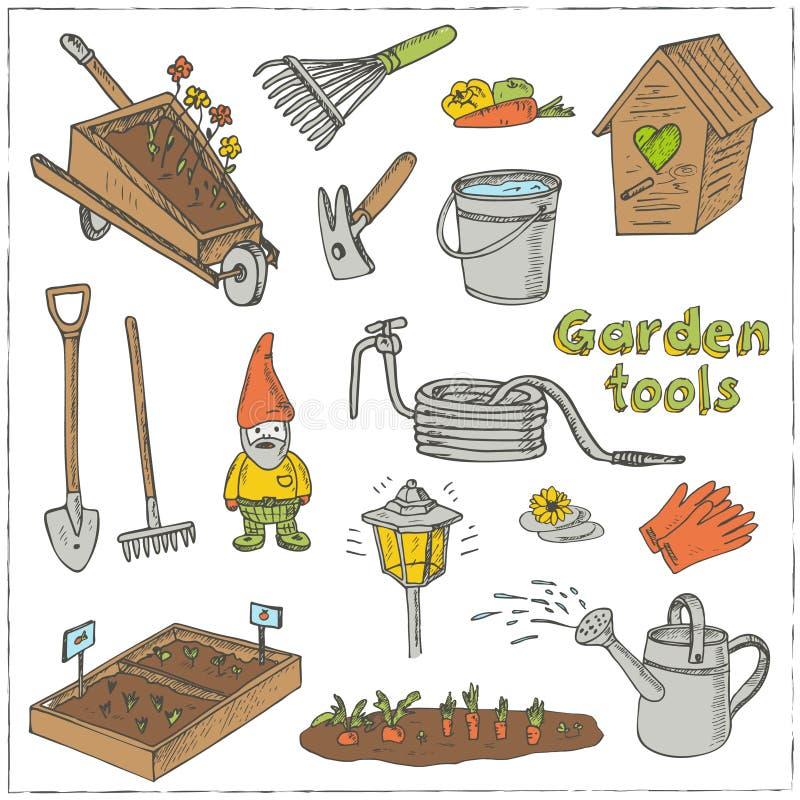 Garden tools doodle set various equipment facilities for for Garden equipment deals