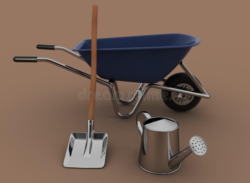 Garden tools. Garden wheelbarrow, watering can and a shovel. stock illustration