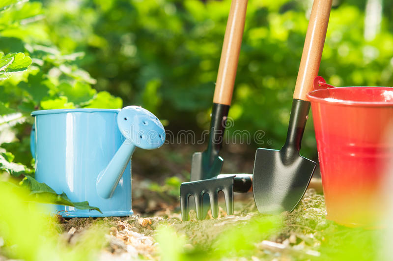 Garden tools. On green background royalty free stock images