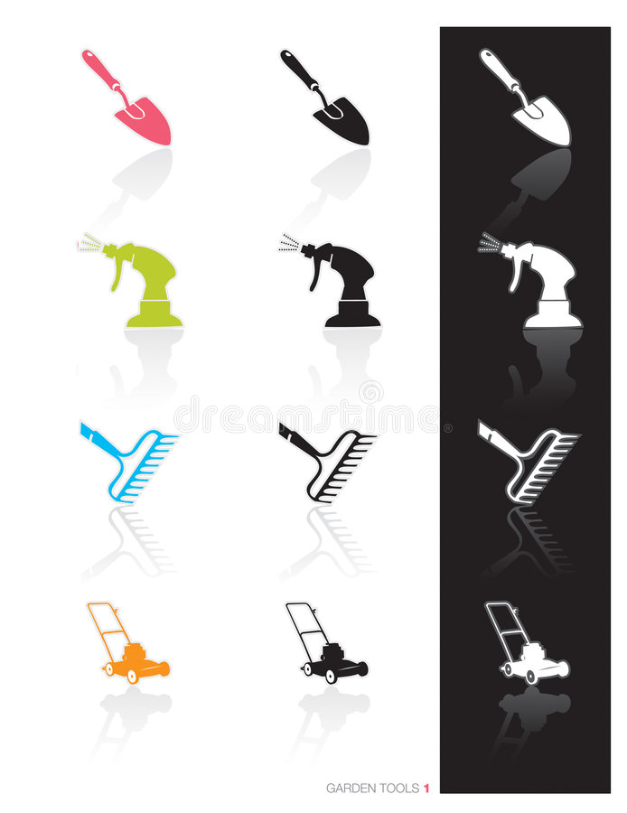 Garden Tools Icon (Vector). Colorful set of icons of garden tools in 3 styles; Easy edit vector art