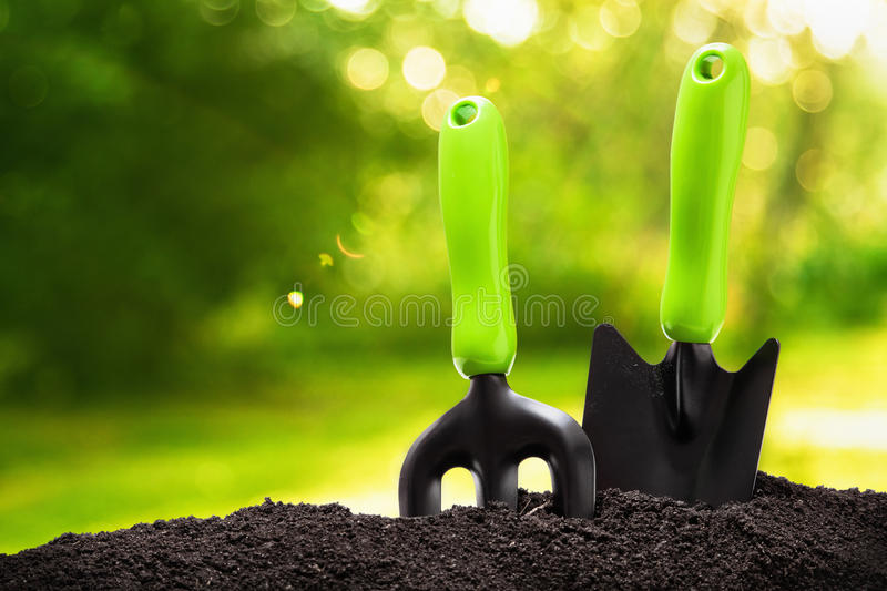 Garden tools. On natural background stock photo