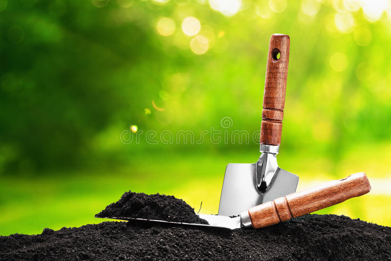 Garden tools. On natural background stock photos