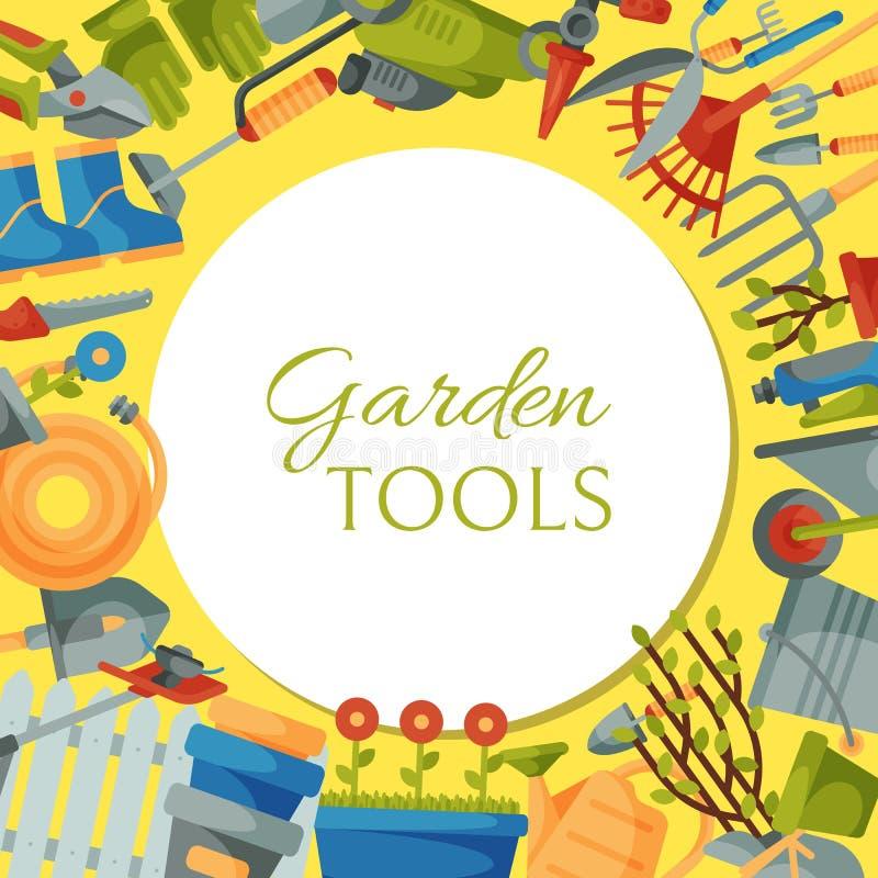 Garden tools round pattern vector illustration. Equipment for gardening. Wheelbarrow, trowel, fork hoe, boots, gloves. Garden tools round pattern vector vector illustration