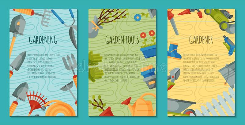 Garden tools set of posters or cards vector illustration. Equipment as wheelbarrow, trowel, fork hoe, boots, gloves. Garden tools set of posters or cards vector royalty free illustration