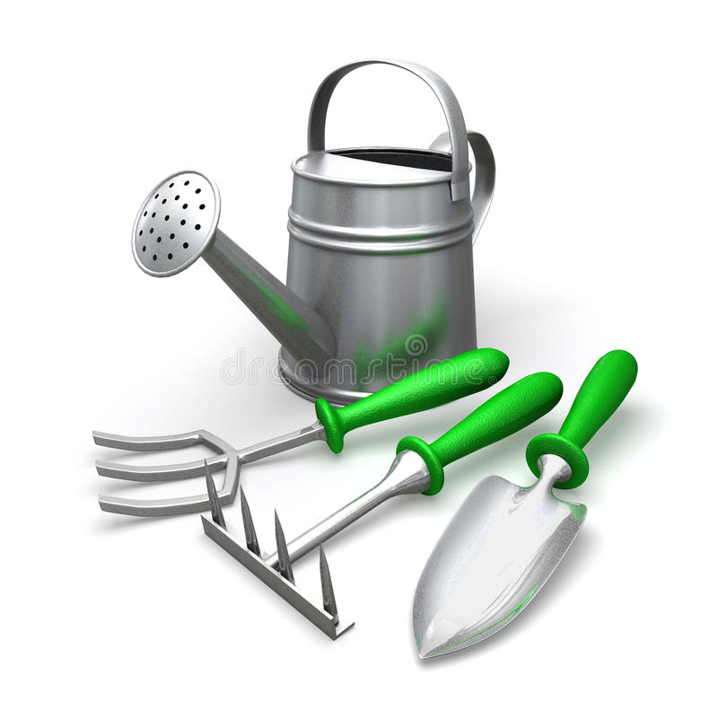 Garden tools and watering can vector illustration