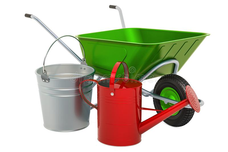 Garden Tools. Wheelbarrow, bucket and watering can. 3D rendering royalty free illustration