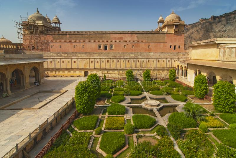 Garden and tower in Amber Fort, Jaipur, Rajasthan, India.  royalty free stock photos