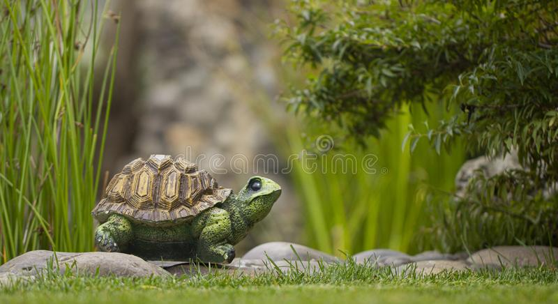 Garden toy, turtle, on the green grass of the back yard royalty free stock photography