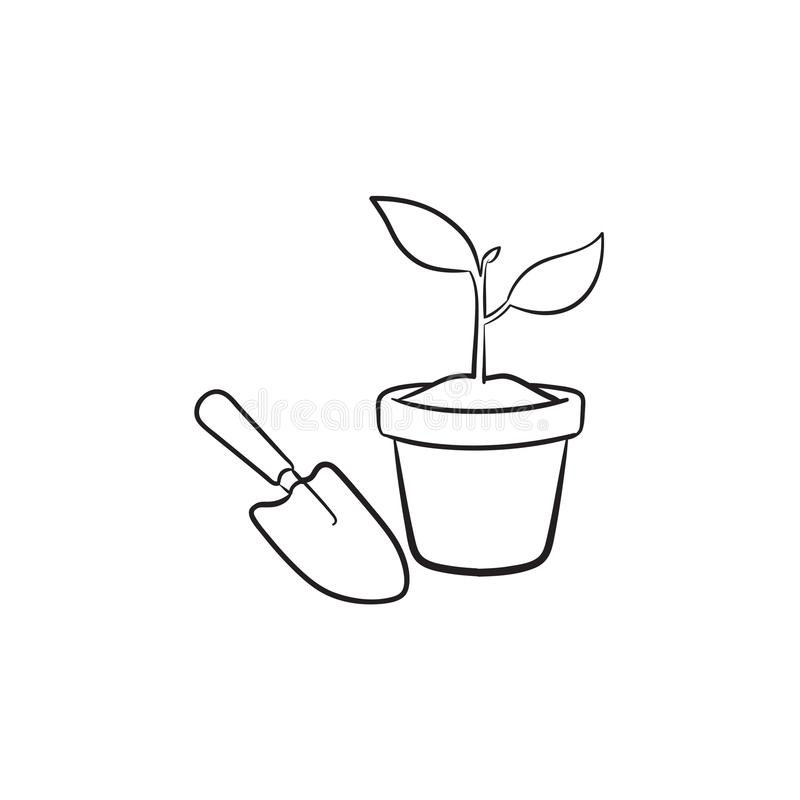 Garden trowel and pot hand drawn sketch icon. royalty free illustration