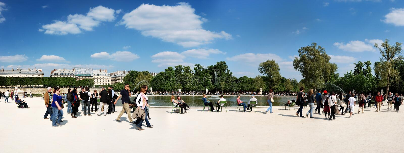 Garden of Tuileries near the Louvre in Paris stock photography