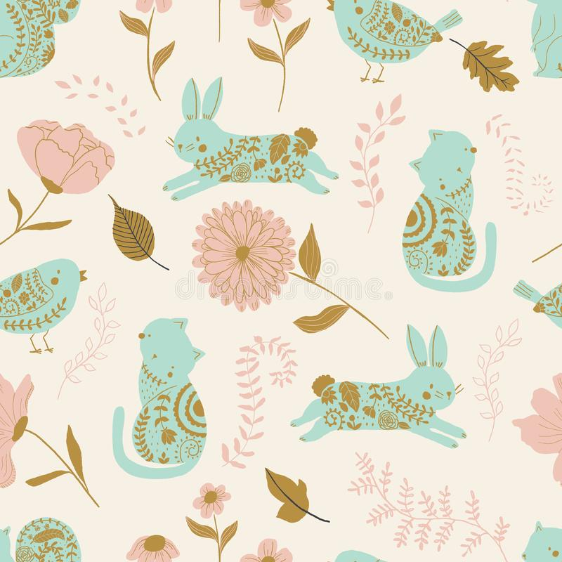 In the garden vector seamless pattern. Kids background with cute animals, birds and flowers royalty free illustration