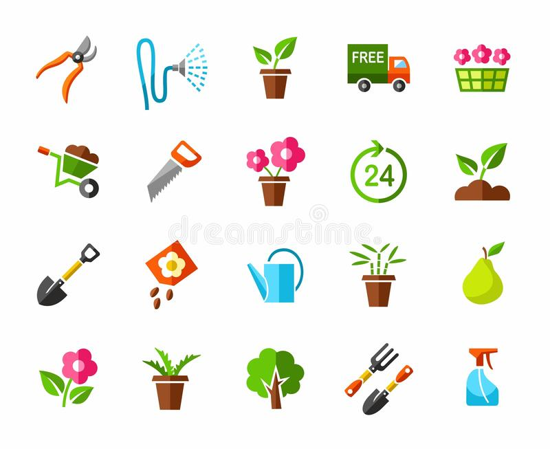 Garden, vegetable garden, icons, colored. stock illustration