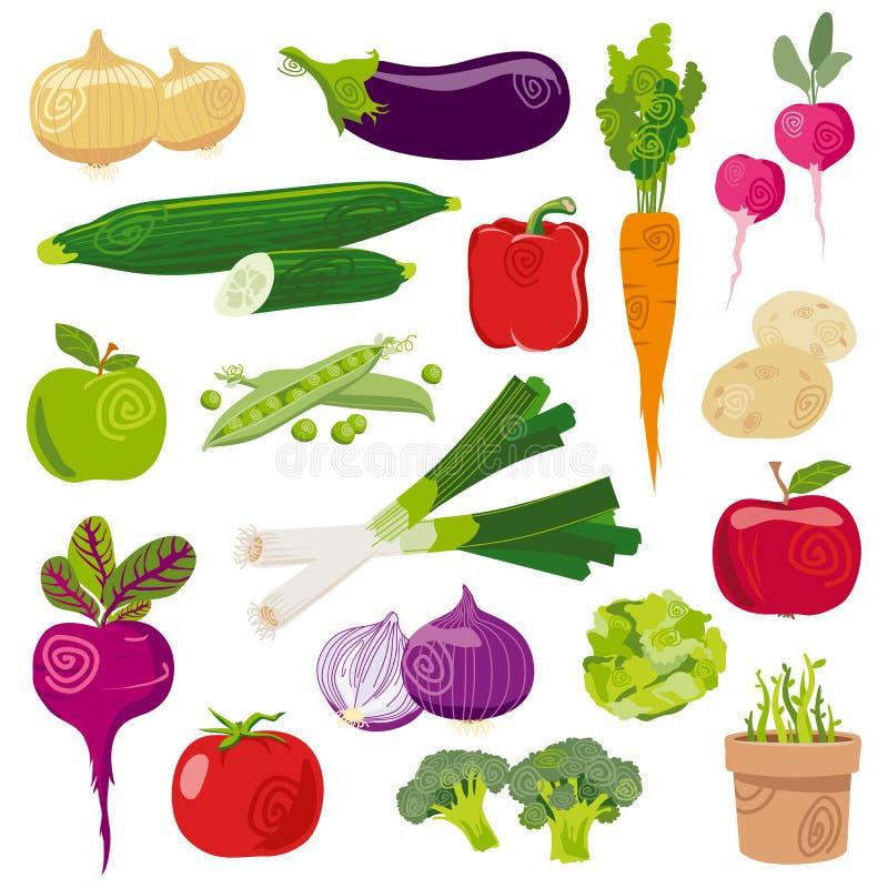 Garden vegetables cartoon vector set. Garden vegetables fresh cartoon vector set isolated on white royalty free illustration