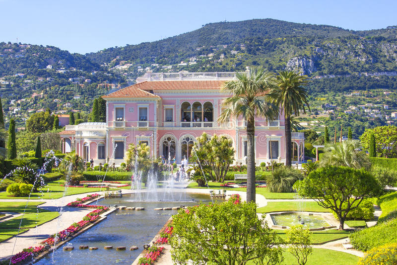 Garden in Villa Ephrussi de Rothschild, Saint-Jean-Cap-Ferrat. French Riviera royalty free stock photo