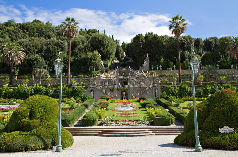 Garden of the Villa Garzoni royalty free stock images