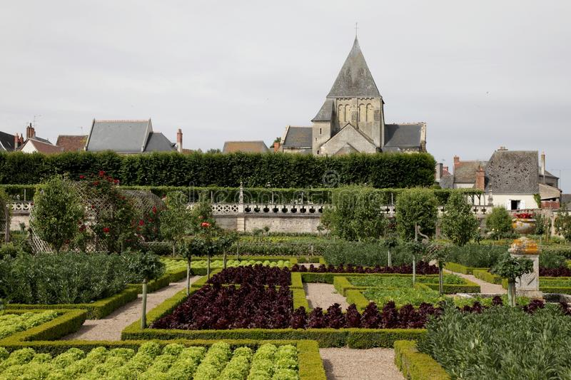 Garden in Villandry Chateau royalty free stock photography