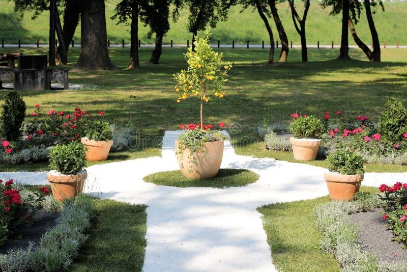 Garden, Walkway, Yard, Flower stock image