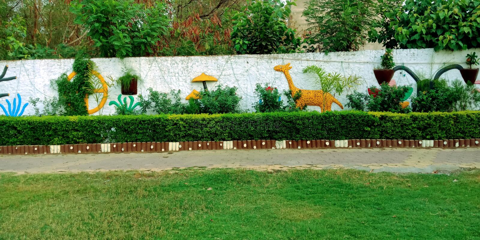 Garden wall decorations with animals art stock photo stock image