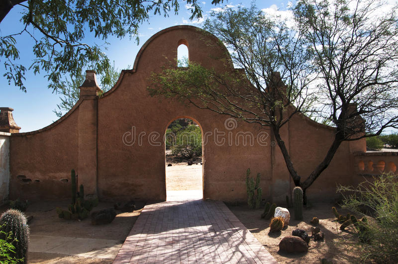 Garden wall in San Xavier del Bac the Spanish Catholic Mission Tucson Arizona. Mission San Xavier del Bac is a historic Spanish Catholic mission located about 10 stock photos